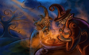 Illustration: Witches with Cauldron