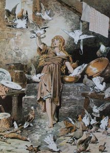 Illustration: Aschenputtel (Cinderella) with doves