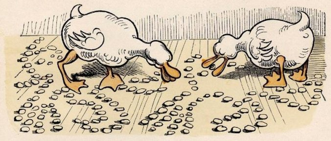 Illustration from Max und Moritz: Ducks Eating Remains