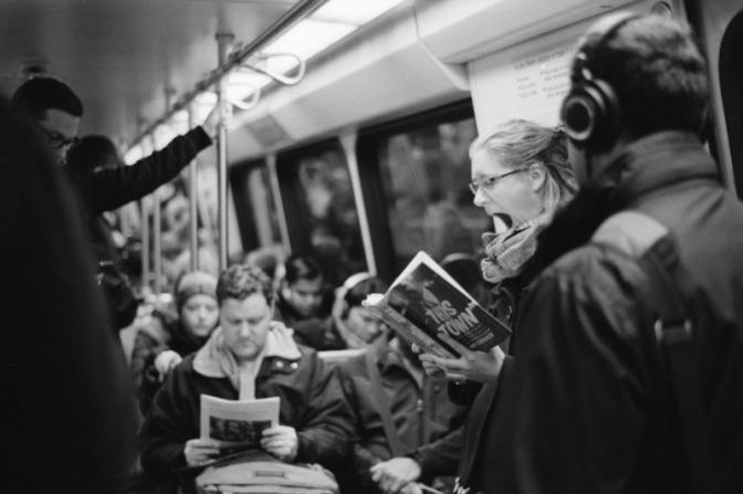 Image: Bored Reader on Subway