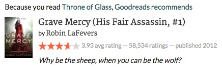 Image: Goodreads recommendation Grave Mercy