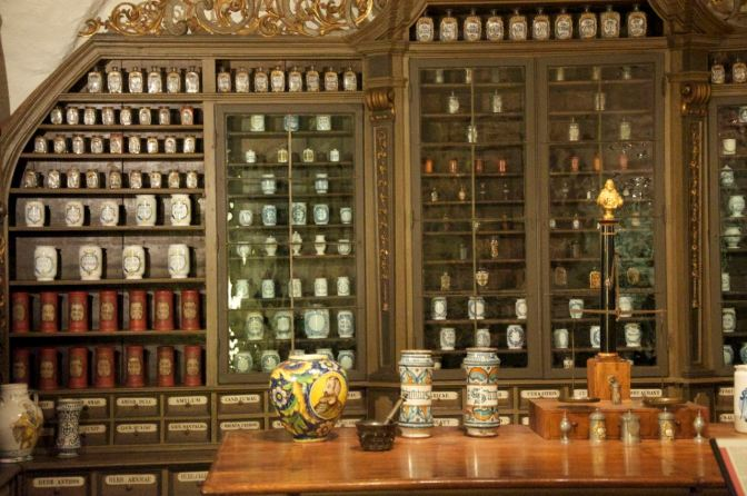Image: Old Shelves and Jars at the German Pharmacy Museum.