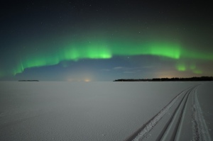 Image: Northern Lights Over Frozen Lake, Finland