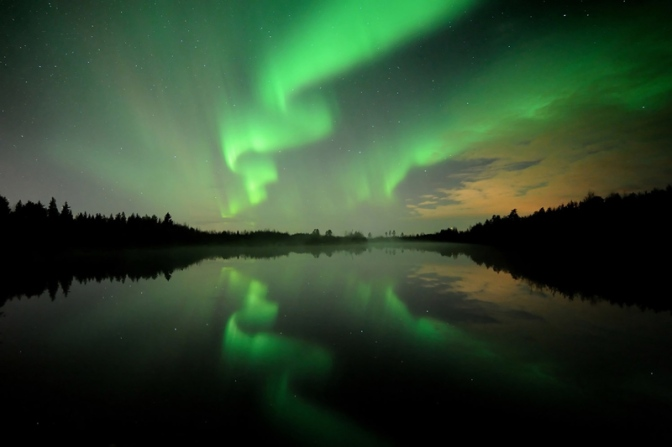 Image: Northern Lights Reflecting on Lake
