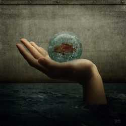 Image: Hand Holding Water Crystal Ball with Fish