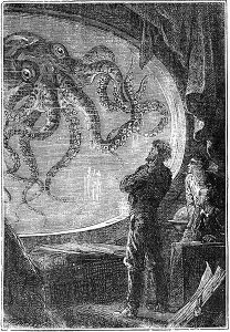 Image: Captain Nemo Viewing Giant Squid 20,000 Leagues Under the Sea