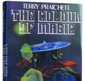 The first edition hardcover copy of The Colour of Magic