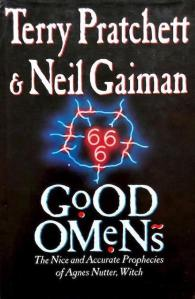 1st edition book cover: Good Omens 1990