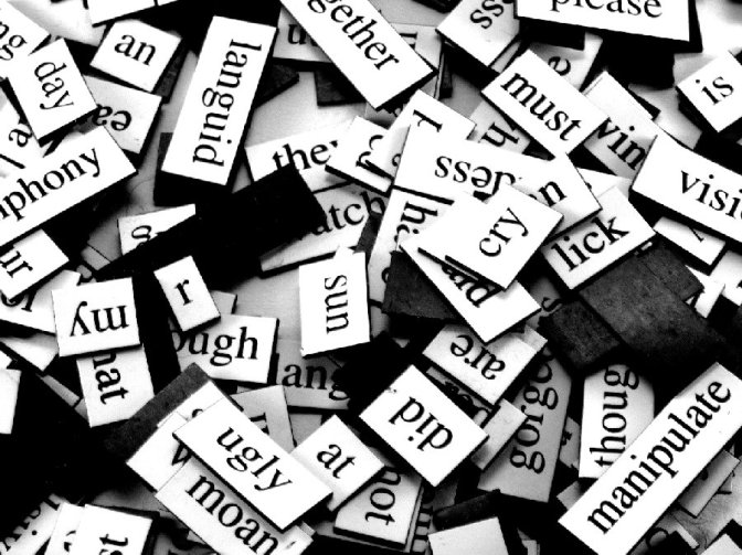 Collection of fridge magnet words